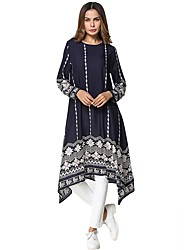 cheap -Women's Daily Tunic Dress,Solid Striped Round Neck Midi Long Sleeve Polyester All Season Mid Rise Micro-elastic Opaque