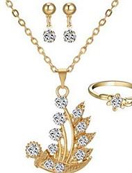 preiswerte -Damen Strass Diamantimitate Schmuck-Set 1 Halskette / 1 Ring / Ohrringe - Klassisch / Modisch Irregulär Gold Tropfen-Ohrringe / Halskette