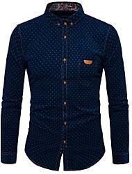 billige -Herre - Ensfarvet Prikker Bomuld Skjorte