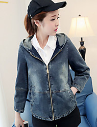 cheap -Women's Daily Going out Simple Casual Fall Denim Jacket,Solid Shirt Collar Long Sleeves Regular Cotton