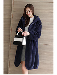 cheap -Women's Going out Street chic Sophisticated Winter Fur Coat,Solid Long Sleeves Long Faux Fur Raccoon Fur