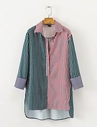 Недорогие -Для женщин На выход На каждый день Рубашка Рубашечный воротник,Очаровательный Активный Полоски Контрастных цветов Длинный рукав,Хлопок
