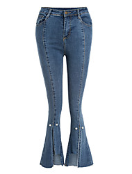 cheap -Women's Cotton Jeans Pants - Solid Colored / Fall / Winter