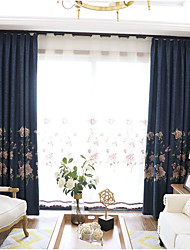 Grommet Top Double Pleat Pencil Pleat Curtain Contemporary Floral Bedroom Polyester Blend Material Blackout Curtains Drapes Home