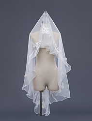 cheap -One-tier Bridal Accent/Decorative Wedding Veil Fingertip Veils 53 Acrylic Embroidery Lace Lace Tulle