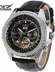 preiswerte -Jaragar Herrn Armbanduhren für den Alltag Modeuhr Kleideruhr Armbanduhr Automatikaufzug Kalender Leder Band Freizeit Cool