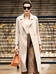 Women's Daily Work Simple Casual Winter Coat,Solid Tailored Collar Long Sleeves Long Wool Pocket