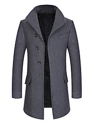 cheap -Men's Daily Simple Casual Winter Fall Coat,Solid V-neck Long Sleeves Long Wool Polyester