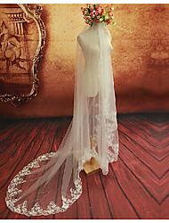 abordables -Une couche A Fleurs Maille Robe Convertible Décoratif Mariage euroaméricains Mariée Long Coiffures Voiles de Mariée Voiles chepelle Avec