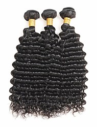 cheap -Indian Hair Remy Human Hair Deep Wave Human Hair Weaves 3pcs Natural Color Hair Weaves