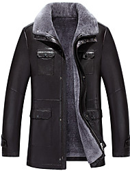 Men's Casual/Daily Simple Fall Winter Leather Jackets,Solid Shirt Collar Long Sleeves Regular Lambskin