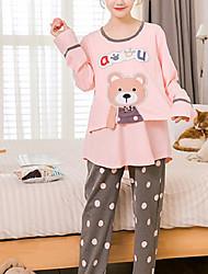 cheap -Women's Suits Pajamas,Animals Cotton Polyester Blushing Pink
