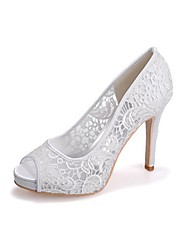 Women's Shoes Lace Spring Fall Basic Pump Wedding Shoes Peep Toe For Wedding Party & Evening Black White