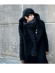 Men's Daily To-Go Simple Casual Winter Fall Trench coat,Solid Hooded Sleeveless Long Rayon