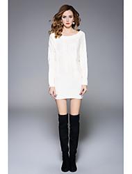 preiswerte -Damen Strickware Kleid-Ausgehen Lässig/Alltäglich Solide Rundhalsausschnitt Mini Langärmelige Acryl Frühling Herbst Hohe Taillenlinie