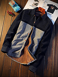 billige -Klassisk krave Herre - Farveblok Skjorte Bomuld