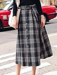 preiswerte -Damen Schick & Modern Rock Röcke - Einfarbig Hohe Taillenlinie
