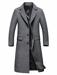 cheap -Men's Simple Casual Long Wool Coat-Solid Colored,Buckle