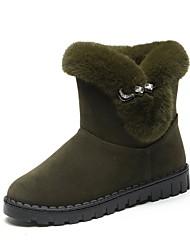 Недорогие -Жен. Обувь Кашемир Зима Зимние сапоги Ботинки Круглый носок Сапоги до середины икры Стразы для Повседневные Черный Серый Зеленый