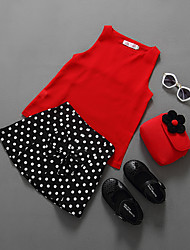 cheap -Girls' Solid Polka Dot Clothing Set,Cotton Polyester Summer Sleeveless Casual Red