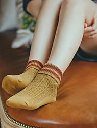 Недорогие -Жен. Однотонный Шерсть Теплые Носки,2шт Зеленый Желтый