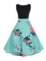 cheap -Women's Going out A Line Dress - Floral / Patchwork