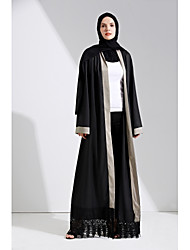 cheap -Women's Party Daily Wear Casual Loose Lace Abaya Dress,Color Block Patchwork Round Neck Maxi Long Sleeve Polyester Elastane All Season