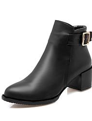 baratos -Mulheres Sapatos Courino Inverno Botas da Moda Botas Salto Robusto Ponta Redonda Botas Curtas / Ankle Presilha para Preto Cinzento
