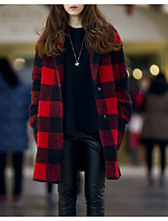cheap -Women's Daily Going out Simple Casual Winter Fall Coat,Houndstooth Shirt Collar Long Sleeves Long Wool Polyester