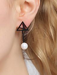 economico -Per donna Orecchini a bottone Perle finte Di tendenza Mancata corrispondenza Zirconi Rame Argento placcato Di forma geometrica Gioielli