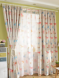 Grommet Top Double Pleat Pencil Pleat Curtain Kids and Teen Wildlife Kids Room Polyester Material Blackout Curtains Drapes Home Decoration