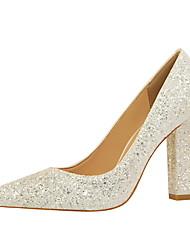 preiswerte -Damen Schuhe Kunstleder Frühling Herbst Komfort High Heels Spitze Zehe Für Kleid Silber Regenbogen Rot Königsblau Champagner
