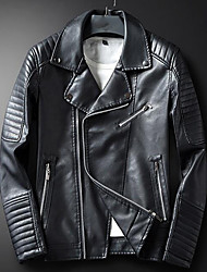 cheap -Men's Going out Simple Casual Winter Leather Jacket,Solid Shirt Collar Long Sleeves Regular Faux Leather