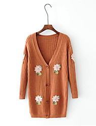 Women's Daily Wear Long Cardigan,Solid Print V Neck Long Sleeves Acrylic Autumn Winter Thick Stretchy