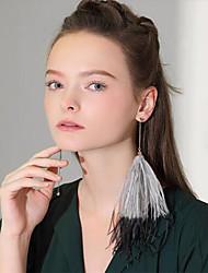 Недорогие -Жен. Серьги-слезки кисточка Мода Перья Перо Бижутерия Серый Розовый Другое На выход Бижутерия