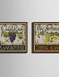 cheap -Botanical Food Vintage Framed Canvas Framed Set Wall Art,PVC Material With Frame For Home Decoration Frame Art Living Room Kitchen Dining