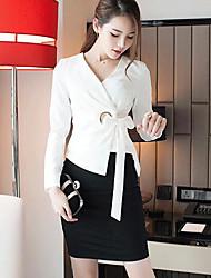 Damen Solide Street Schick Lässig/Alltäglich Hemd,Hemdkragen Lange Hose Baumwolle Cotton Chambray