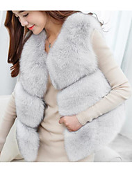 cheap -Women's Sophisticated Street chic Faux Fur PU Fox Fur Fur Coat-Solid Colored