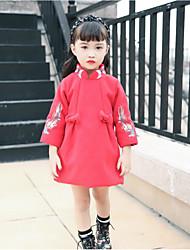 Robe Fille de Décontracté / Quotidien Imprimé Coton Polyester Hiver Automne Manches 3/4 simple Rouge