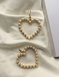 cheap -Women's Heart Imitation Pearl Drop Earrings - Simple Fashion Korean Heart For Daily