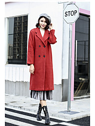 cheap -Women's Daily Street chic Winter Fall Coat,Solid Notch Lapel Long Sleeves Long Acrylic Polyester Others