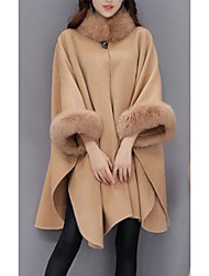 cheap -Women's Daily Going out Street chic Winter Fall Cloak/Capes,Solid Crew Neck Long Sleeves Regular Wool Fox Fur