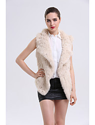 BF-Fur Style Women's Casual/Daily Sophisticated Fall Winter Vest,Solid Shirt Collar Sleeveless Short Rabbit Fur