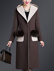 Недорогие -Для женщин На каждый день Большие размеры Зима Осень Пальто Капюшон,Винтаж Однотонный Обычная Длинные рукава,Шерсть