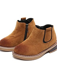 Girls' Shoes PU Winter Fall Fluff Lining Combat Boots Boots Booties/Ankle Boots For Casual Dress Dark Brown Pink Black