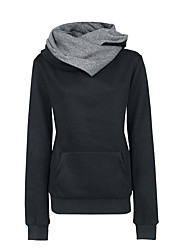 cheap -Women's Casual/Daily Street chic Hoodie Solid Hooded Micro-elastic Polyester Long Sleeve Winter Fall