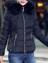 cheap -Women's Short Padded Coat,Casual Daily Solid-Cotton Polypropylene Long Sleeves