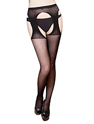 Women's Hosiery Thin Stockings,Nylon Striped Floral Jacquard One-piece Suit Black