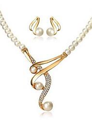 baratos -Mulheres Gema / Imitação de Pérola Conjunto de jóias Brincos Compridos / Colar - Imitação de Pérola, Imitações de Diamante Dourado