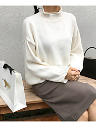 cheap -Women's Holiday Going out Regular Pullover,Solid Turtleneck Long Sleeves Acrylic Winter Spring/Fall Thick strenchy